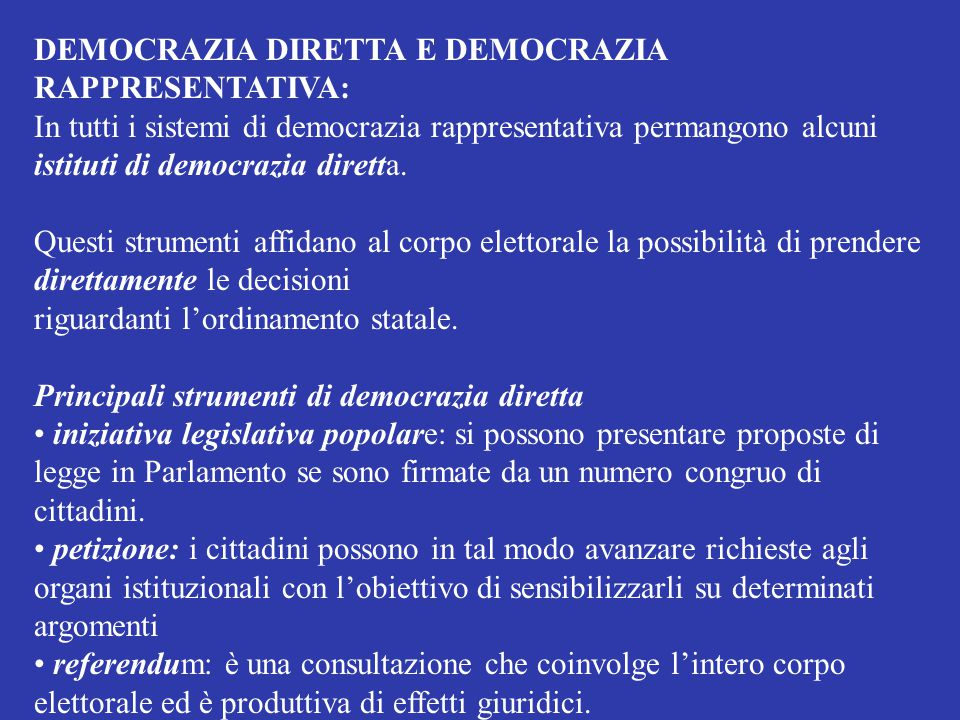 DEMOCRAZIA DIRETTA E DEMOCRAZIA RAPPRESENTATIVA: