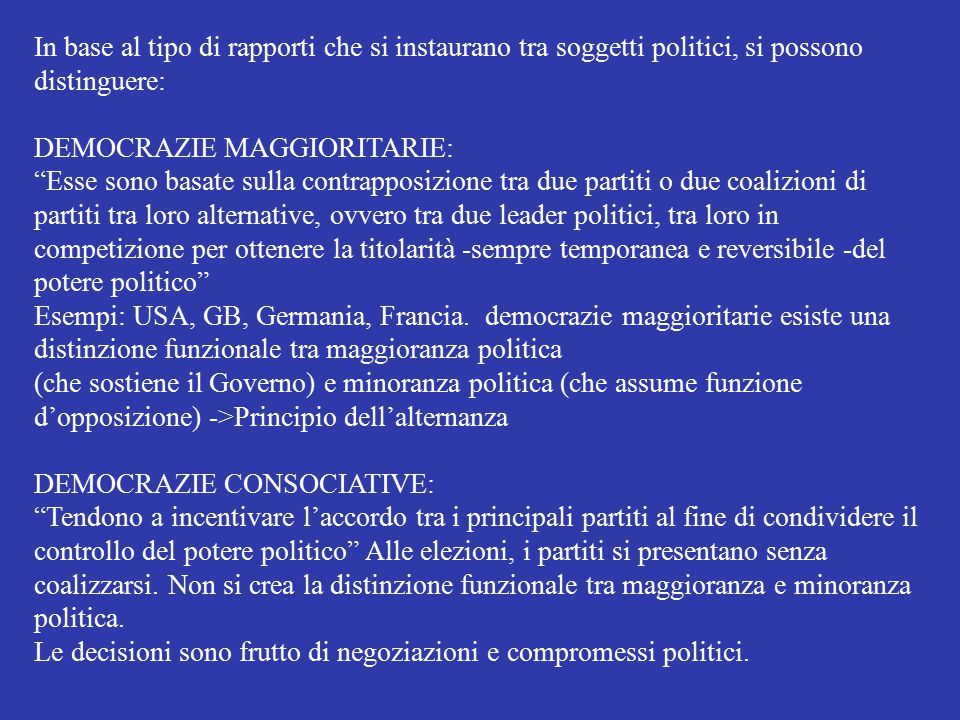 In base al tipo di rapporti che si instaurano tra soggetti politici, si possono distinguere:
