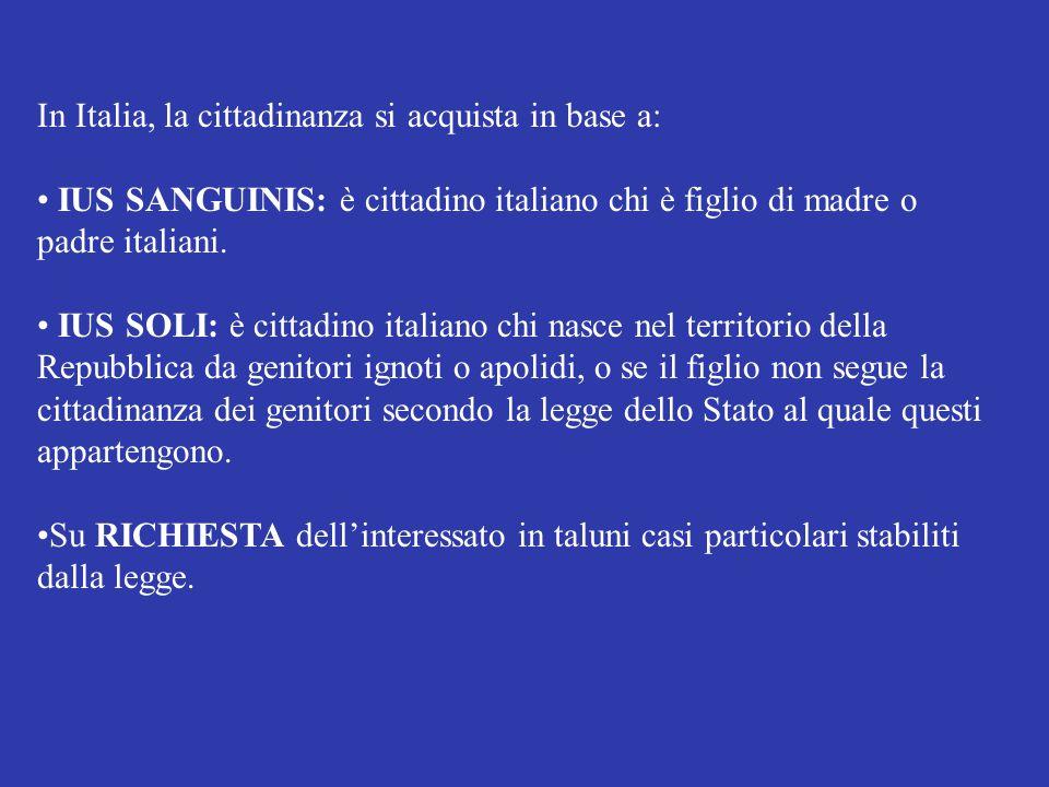 In Italia, la cittadinanza si acquista in base a: