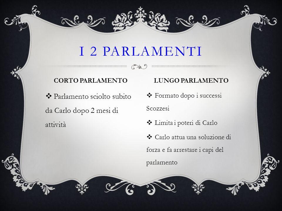 I 2 PARLAMENTI CORTO PARLAMENTO. LUNGO PARLAMENTO. Parlamento sciolto subito da Carlo dopo 2 mesi di attività.