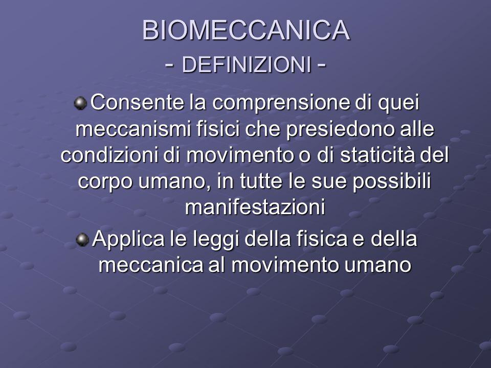 BIOMECCANICA - DEFINIZIONI -