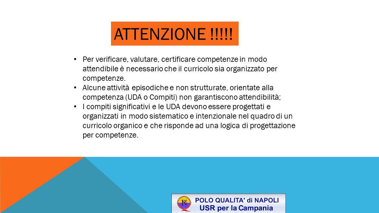 ATTENZIONE !!!!! Per verificare, valutare, certificare competenze in modo attendibile è necessario che il curricolo sia organizzato per competenze.