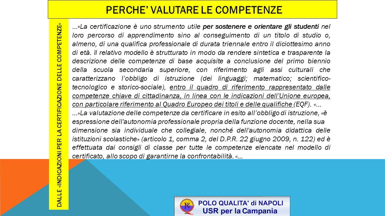 Dalle «Indicazioni per la certificazione delle competenze»