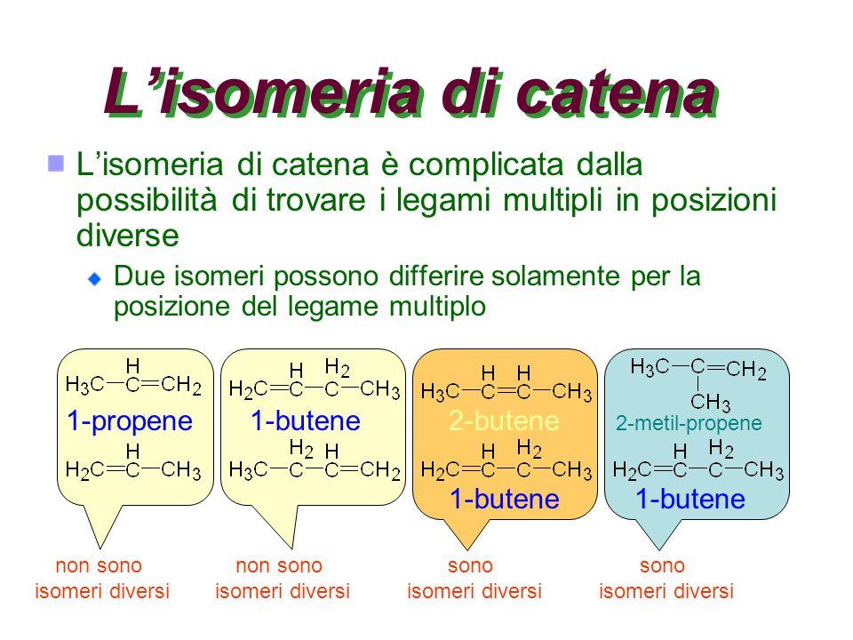 L'isomeria di catena L'isomeria di catena è complicata dalla possibilità di trovare i legami multipli in posizioni diverse.