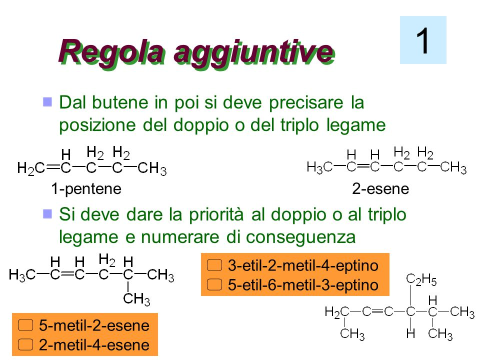 1 Regola aggiuntive. Dal butene in poi si deve precisare la posizione del doppio o del triplo legame.