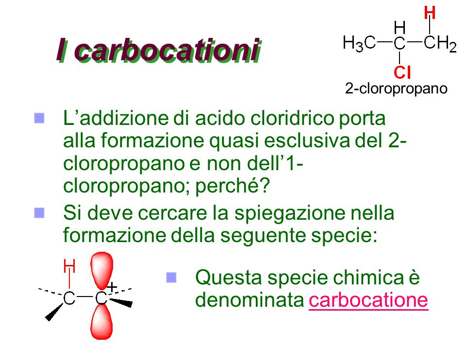 I carbocationi 2-cloropropano.