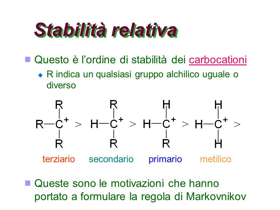 Stabilità relativa Questo è l'ordine di stabilità dei carbocationi