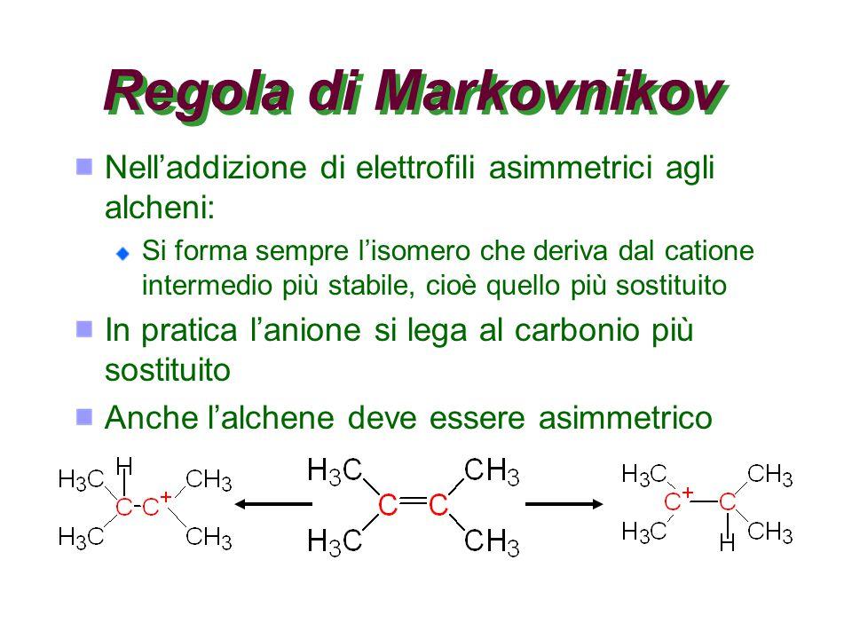 Regola di Markovnikov Nell'addizione di elettrofili asimmetrici agli alcheni:
