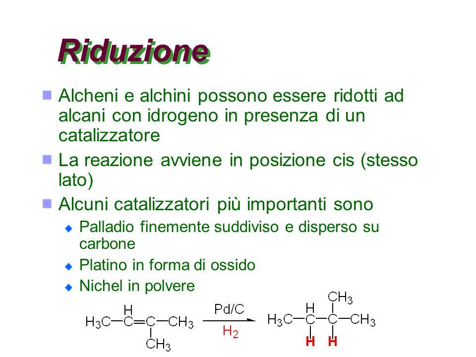 Riduzione Alcheni e alchini possono essere ridotti ad alcani con idrogeno in presenza di un catalizzatore.