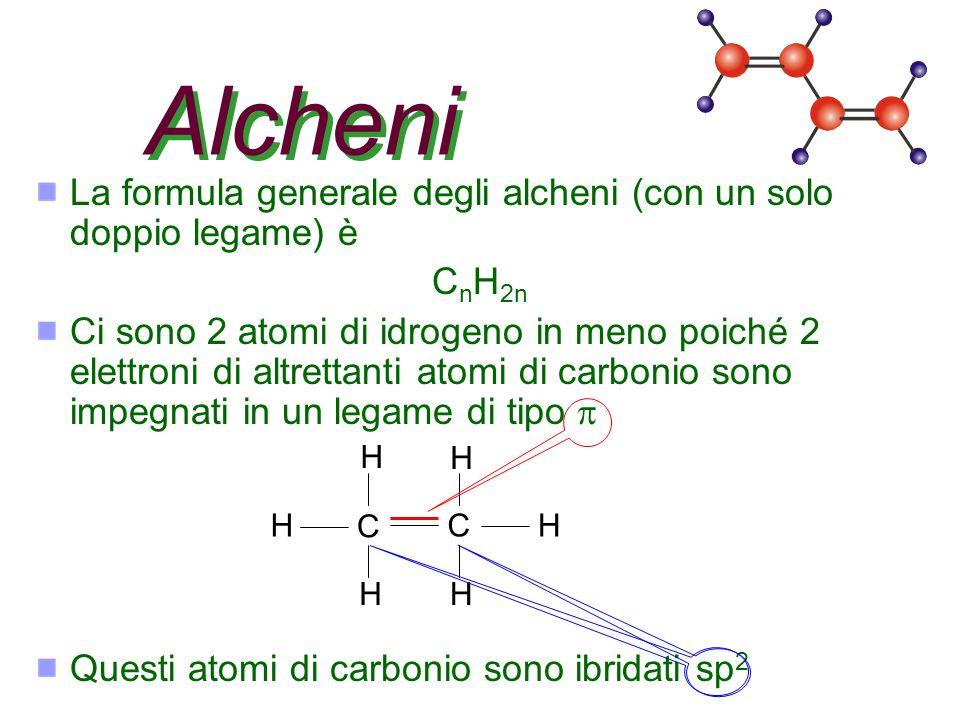 Alcheni La formula generale degli alcheni (con un solo doppio legame) è. CnH2n.