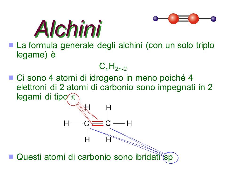Alchini La formula generale degli alchini (con un solo triplo legame) è. CnH2n-2.