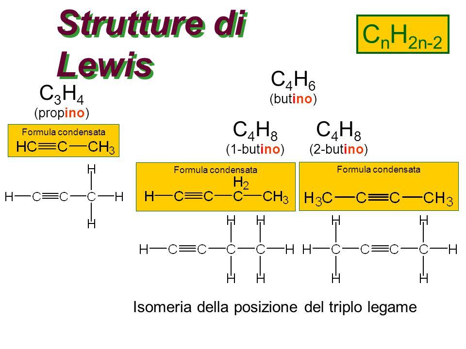 Strutture di Lewis CnH2n-2 C4H6 C3H4 C4H8 C4H8