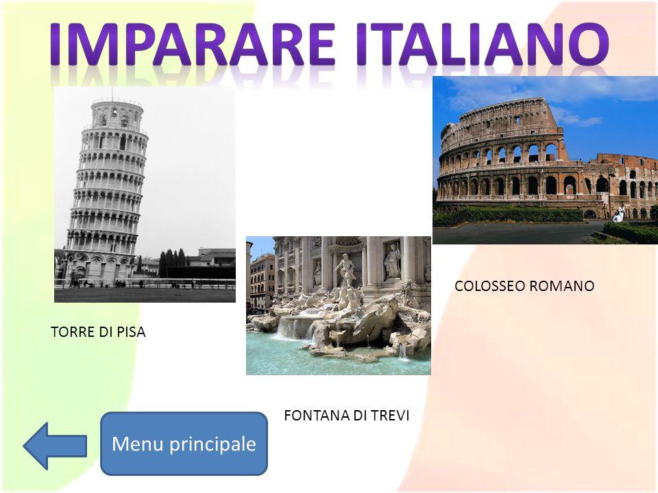 Imparare italiano Menu principale COLOSSEO ROMANO TORRE DI PISA