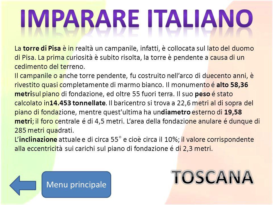 Imparare italiano TOSCANA Menu principale