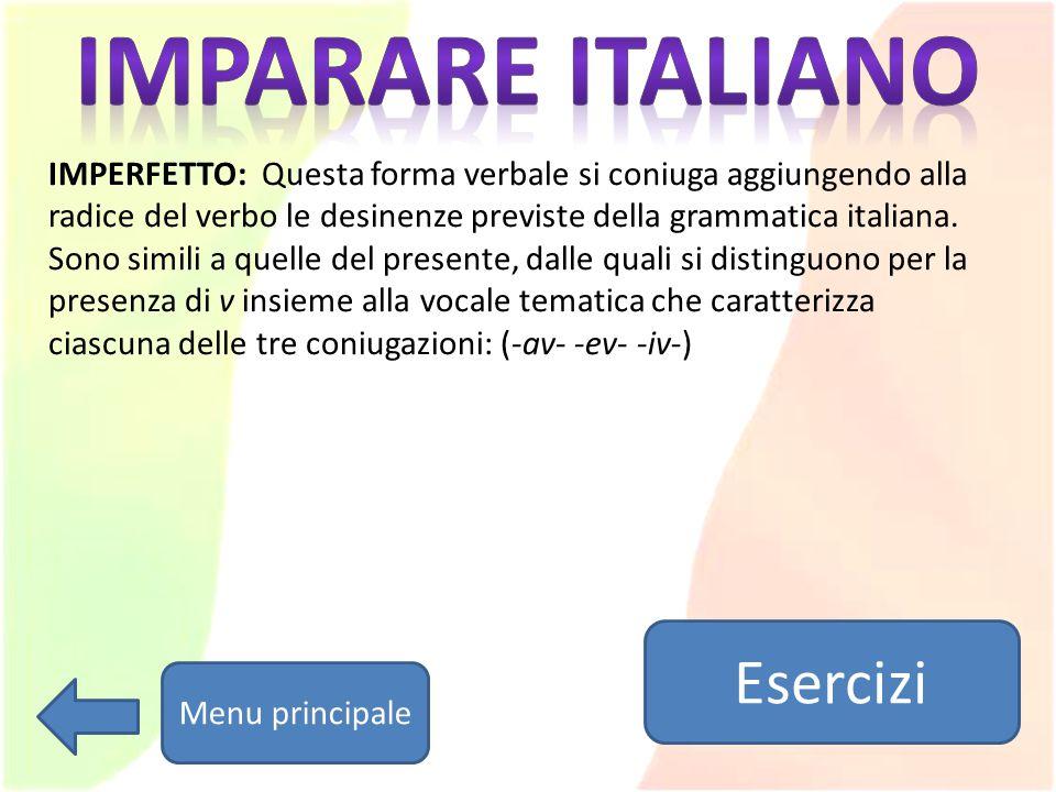 Imparare italiano Esercizi