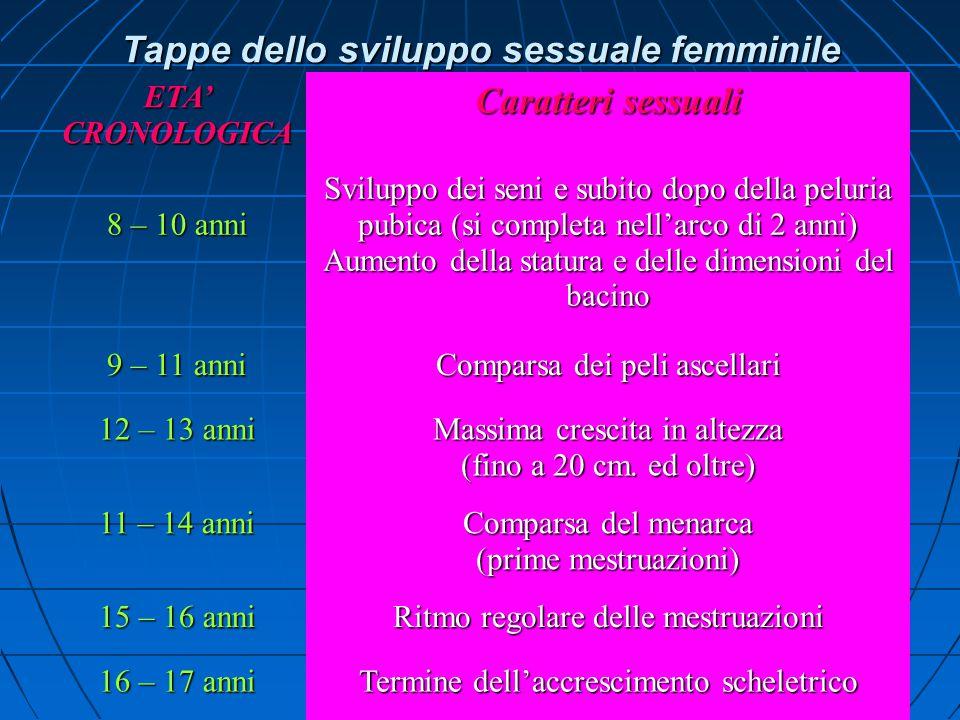 Tappe dello sviluppo sessuale femminile Caratteri sessuali