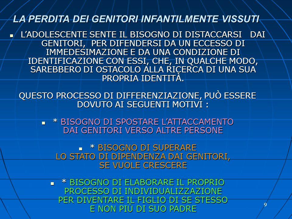 LA PERDITA DEI GENITORI INFANTILMENTE VISSUTI