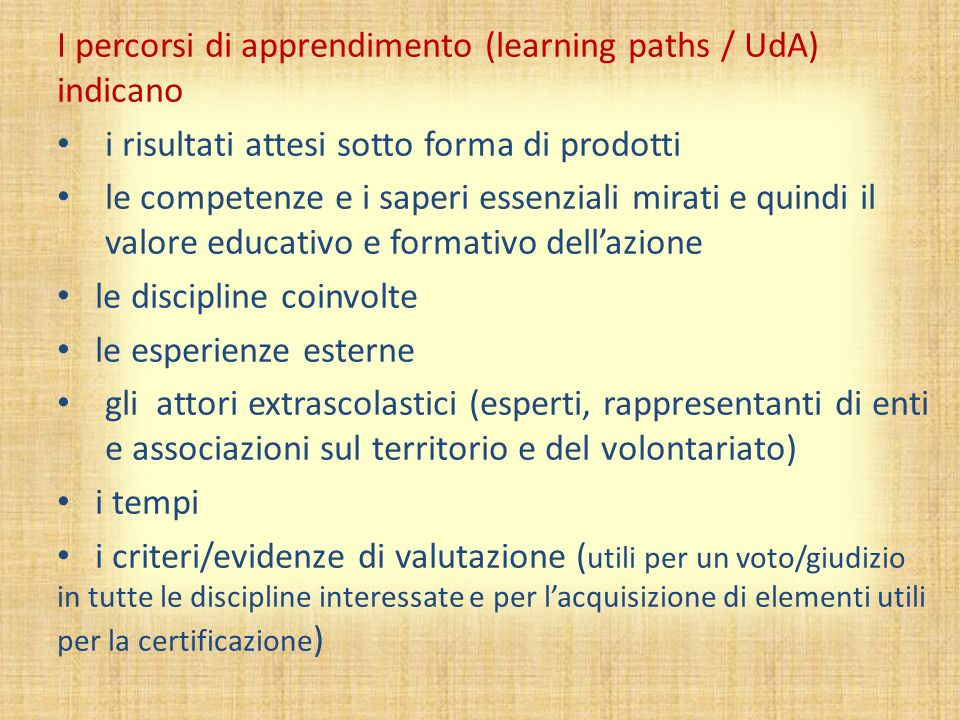 I percorsi di apprendimento (learning paths / UdA) indicano