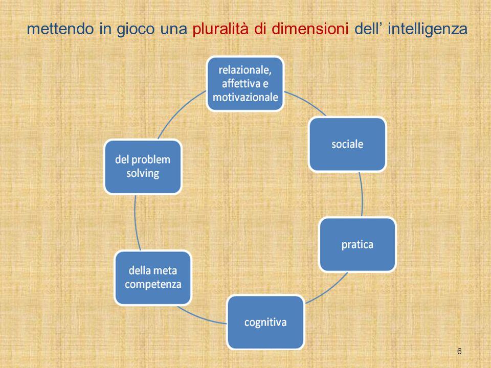 mettendo in gioco una pluralità di dimensioni dell' intelligenza