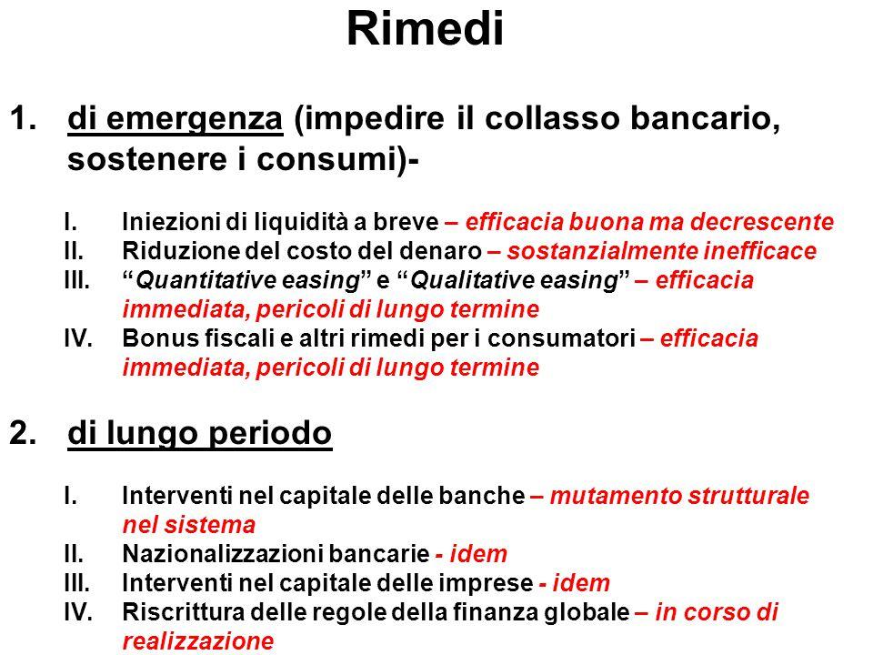 Rimedi di emergenza (impedire il collasso bancario, sostenere i consumi)- Iniezioni di liquidità a breve – efficacia buona ma decrescente.