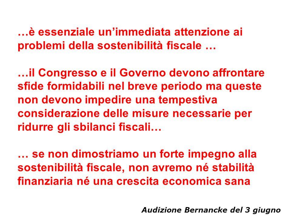 …è essenziale un'immediata attenzione ai problemi della sostenibilità fiscale …