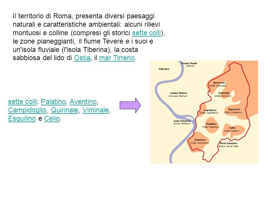 Il territorio di Roma, presenta diversi paesaggi naturali e caratteristiche ambientali: alcuni rilievi montuosi e colline (compresi gli storici sette colli), le zone pianeggianti, il fiume Tevere e i suoi e un isola fluviale (l isola Tiberina), la costa sabbiosa del lido di Ostia, il mar Tirreno.