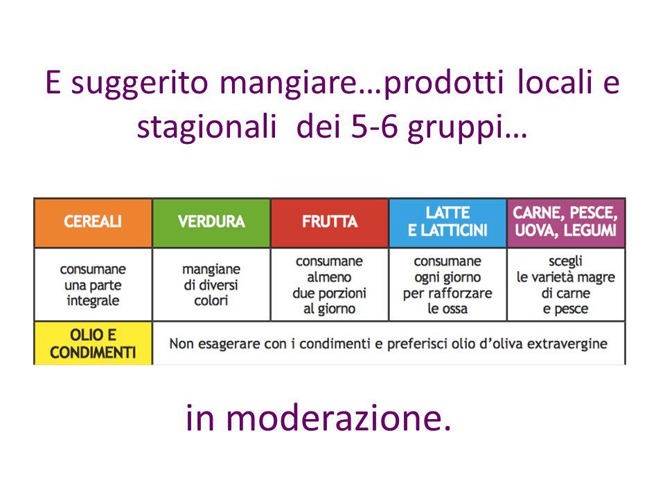E suggerito mangiare…prodotti locali e stagionali dei 5-6 gruppi…