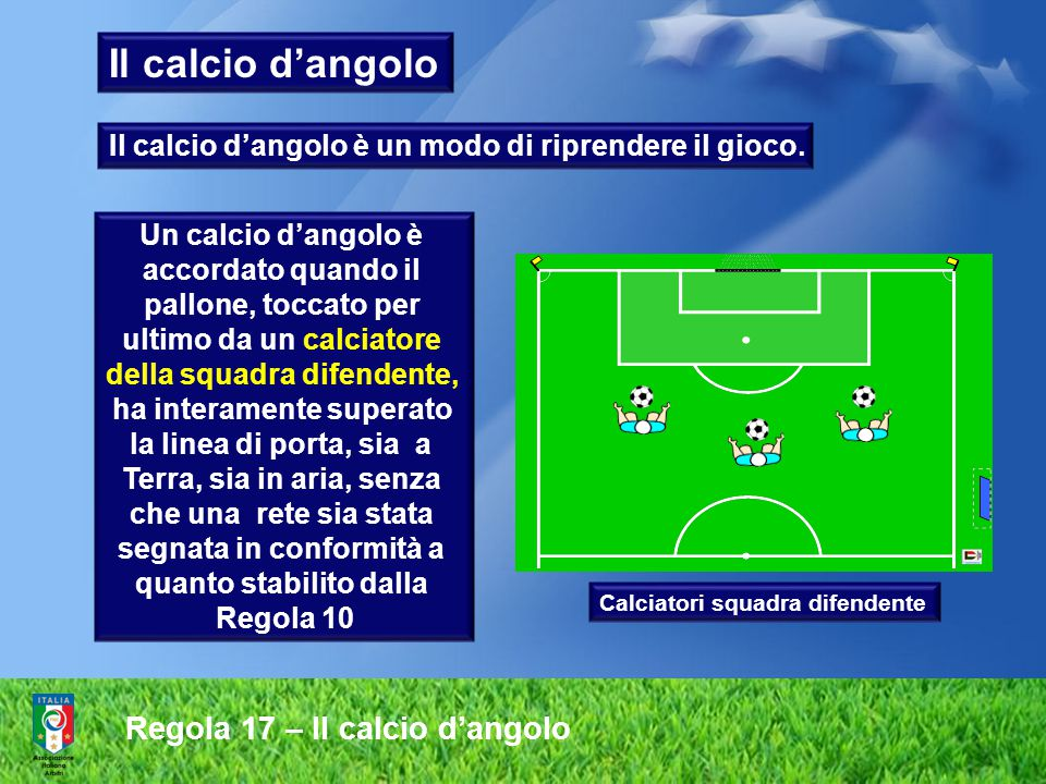 Il calcio d'angolo Regola 17 – Il calcio d'angolo