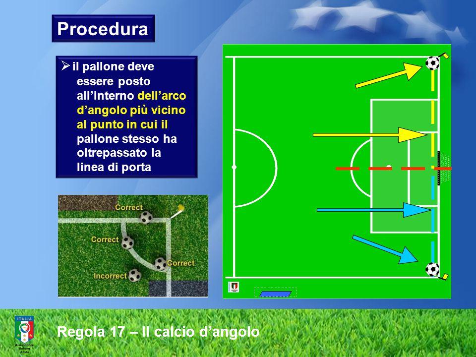 Procedura Regola 17 – Il calcio d'angolo il pallone deve essere posto