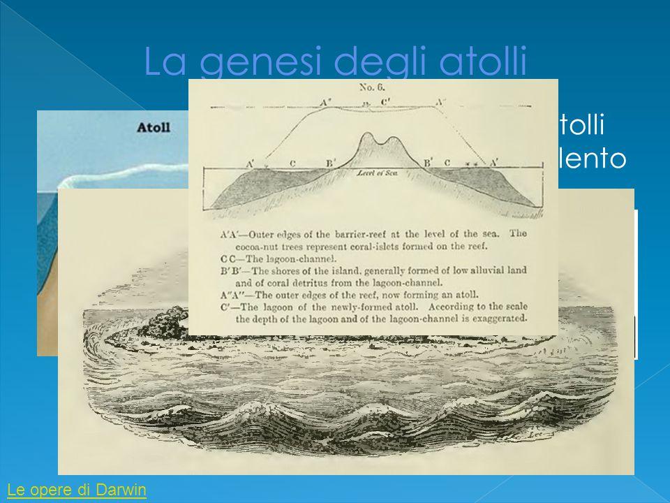 La genesi degli atolli Darwin spiega la formazione degli atolli ipotizzando la presenza di in isola in lento spofondamento.