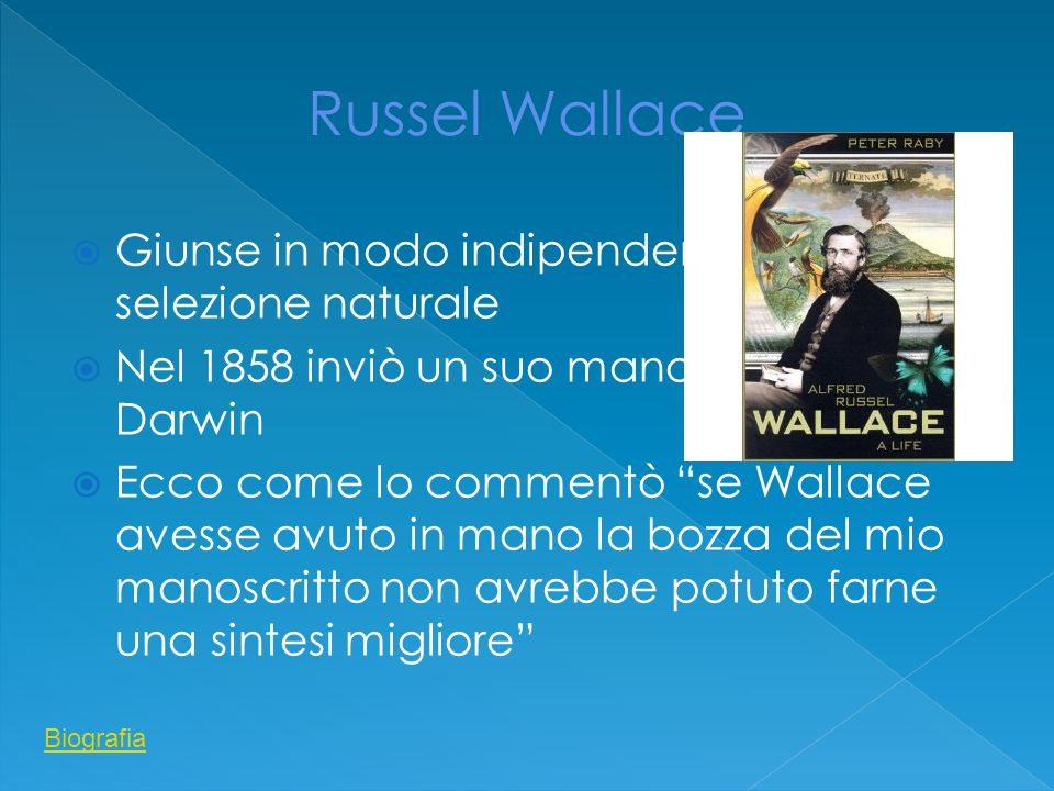 Russel Wallace Giunse in modo indipendente alla selezione naturale