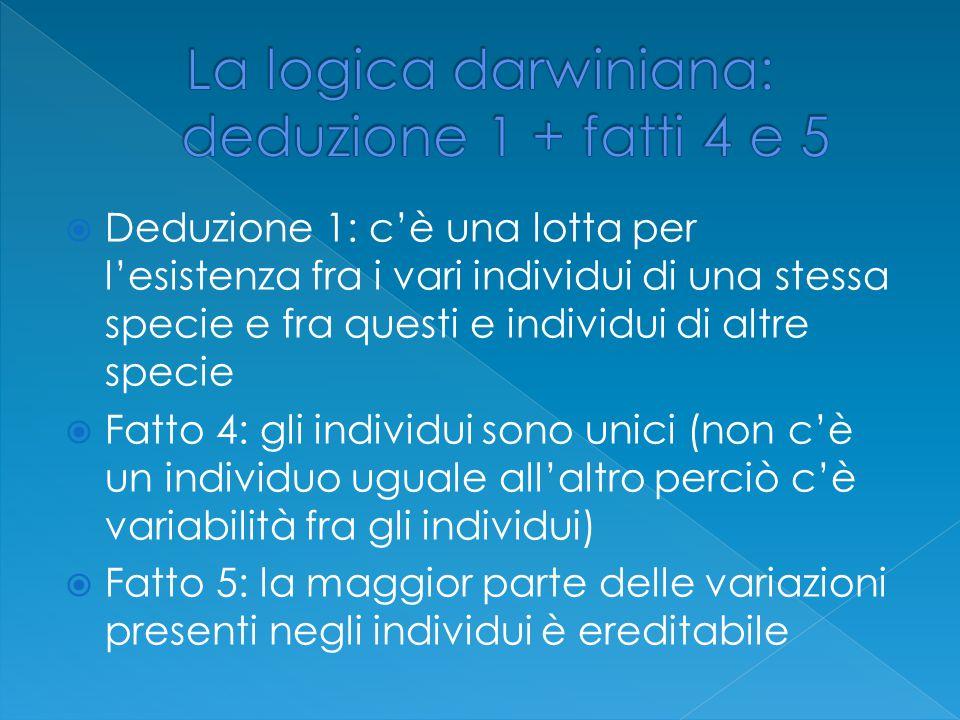 La logica darwiniana: deduzione 1 + fatti 4 e 5