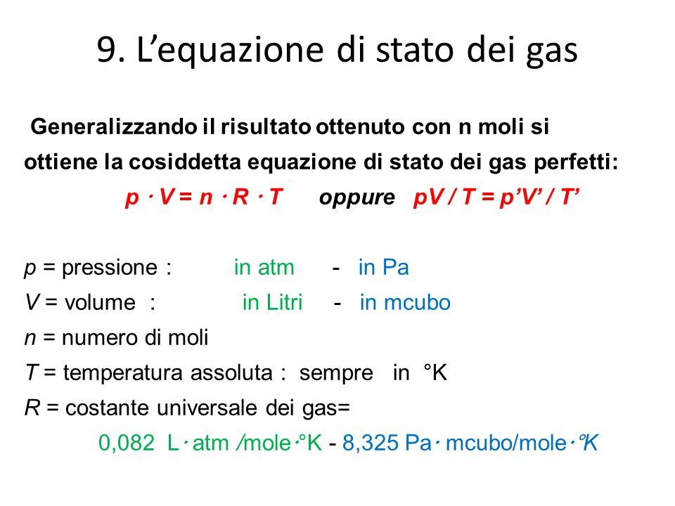 9. L'equazione di stato dei gas