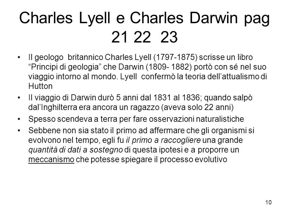 Charles Lyell e Charles Darwin pag 21 22 23