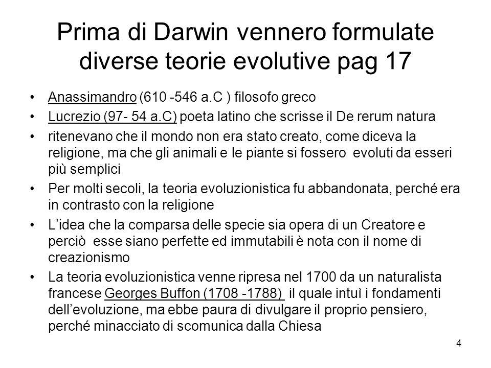 Prima di Darwin vennero formulate diverse teorie evolutive pag 17