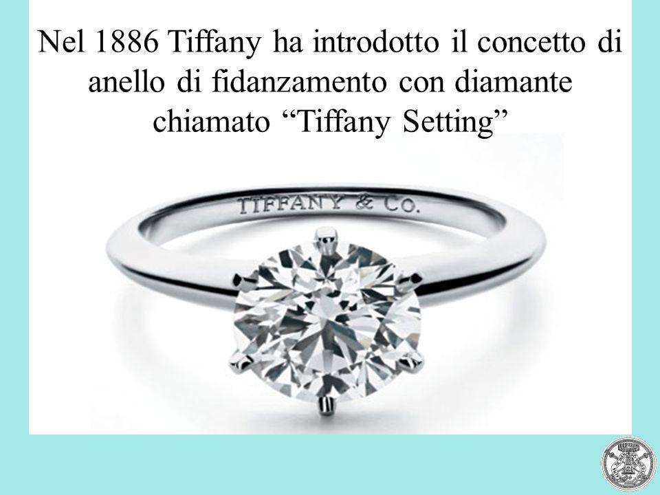 Nel 1886 Tiffany ha introdotto il concetto di anello di fidanzamento con diamante chiamato Tiffany Setting