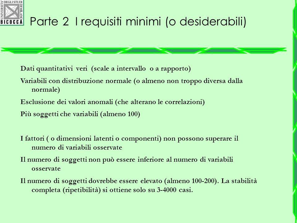Parte 2 I requisiti minimi (o desiderabili)