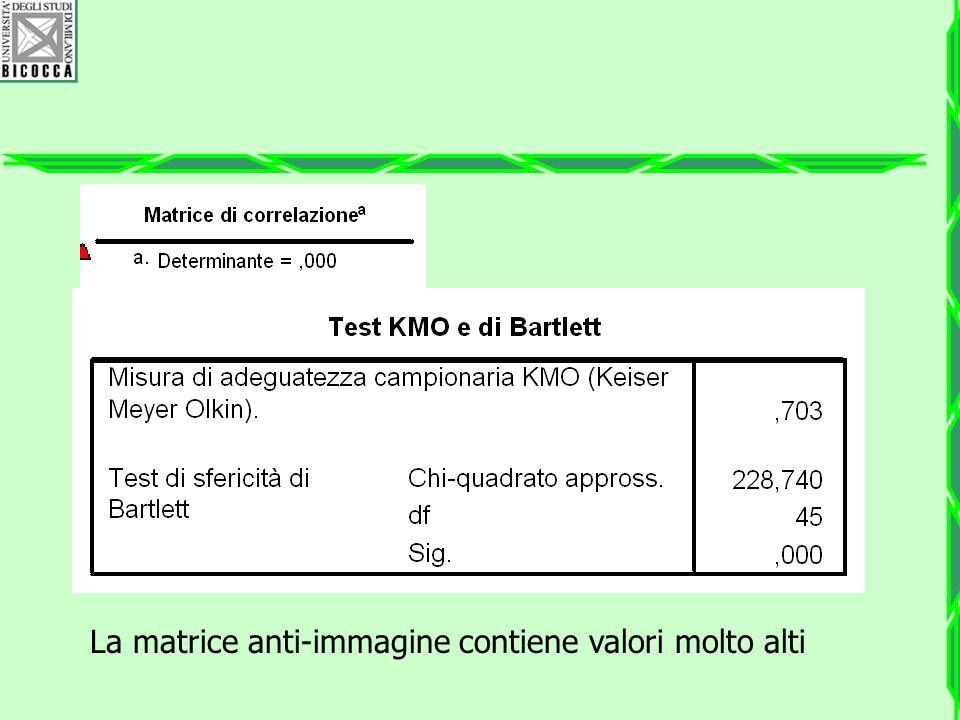 La matrice anti-immagine contiene valori molto alti