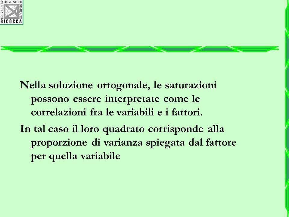 Nella soluzione ortogonale, le saturazioni possono essere interpretate come le correlazioni fra le variabili e i fattori.