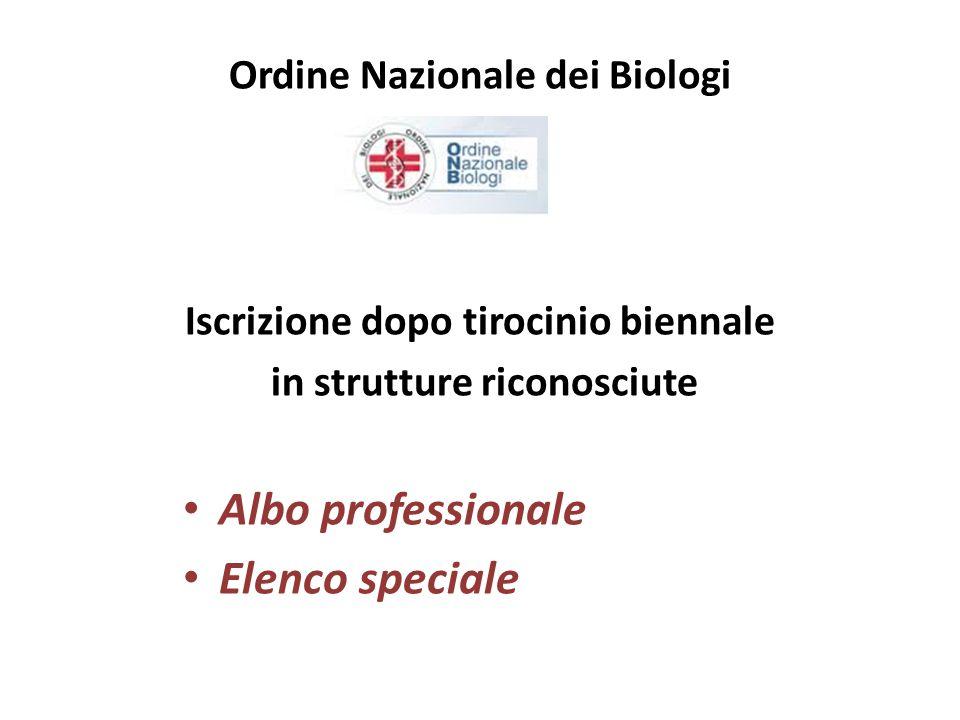 Albo professionale Elenco speciale Ordine Nazionale dei Biologi