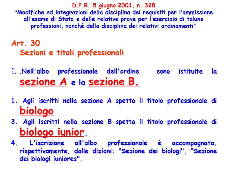Art. 30 Sezioni e titoli professionali