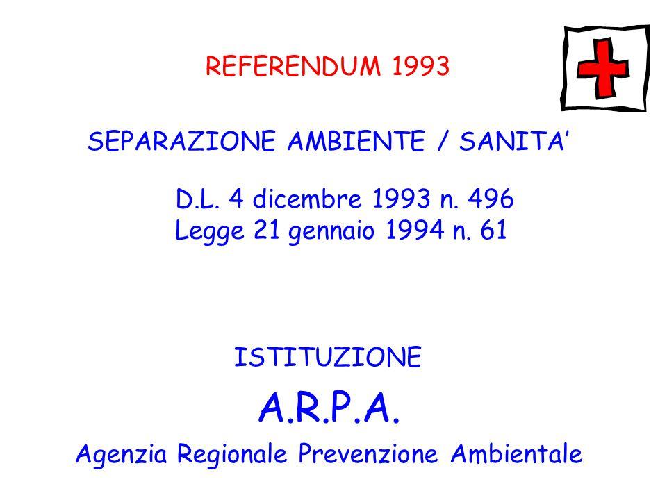 A.R.P.A. REFERENDUM 1993 SEPARAZIONE AMBIENTE / SANITA'