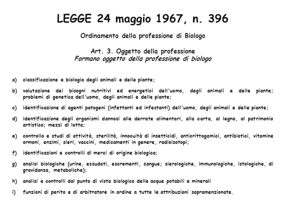 LEGGE 24 maggio 1967, n. 396 Ordinamento della professione di Biologo