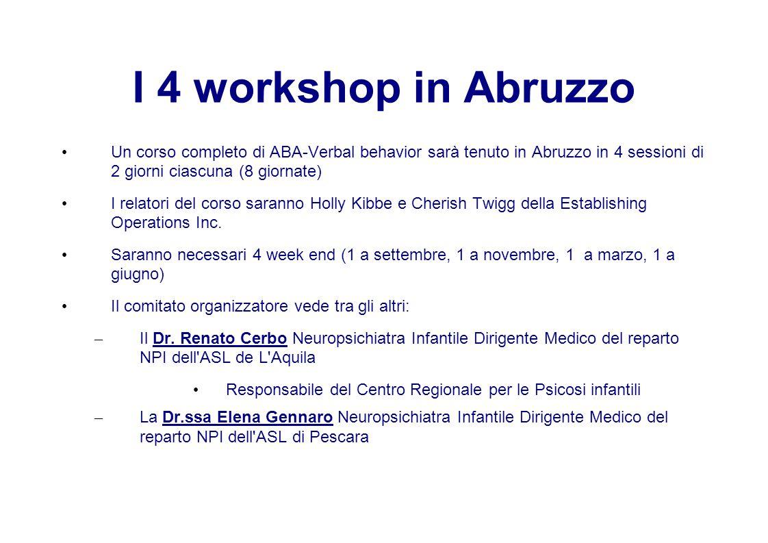 I 4 workshop in Abruzzo Un corso completo di ABA-Verbal behavior sarà tenuto in Abruzzo in 4 sessioni di 2 giorni ciascuna (8 giornate)