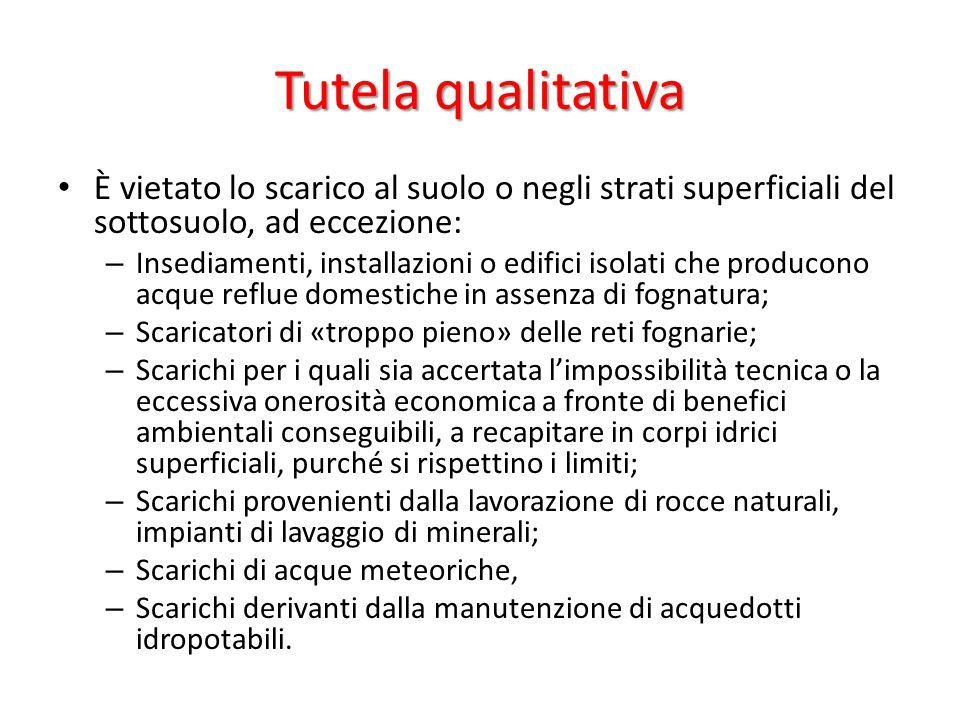 Tutela qualitativa È vietato lo scarico al suolo o negli strati superficiali del sottosuolo, ad eccezione: