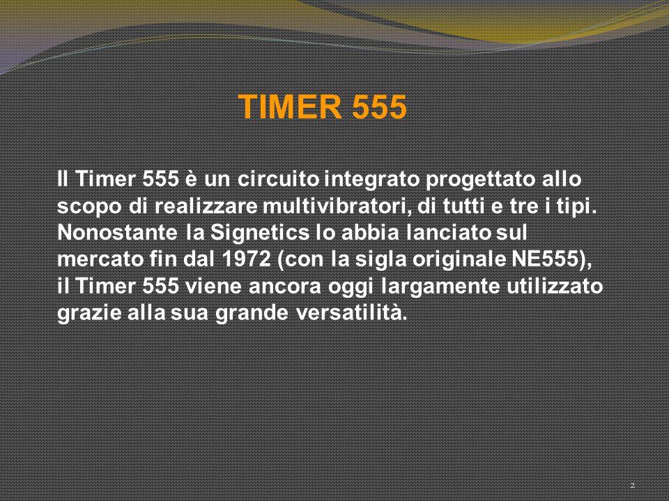 TIMER 555 Il Timer 555 è un circuito integrato progettato allo scopo di realizzare multivibratori, di tutti e tre i tipi.