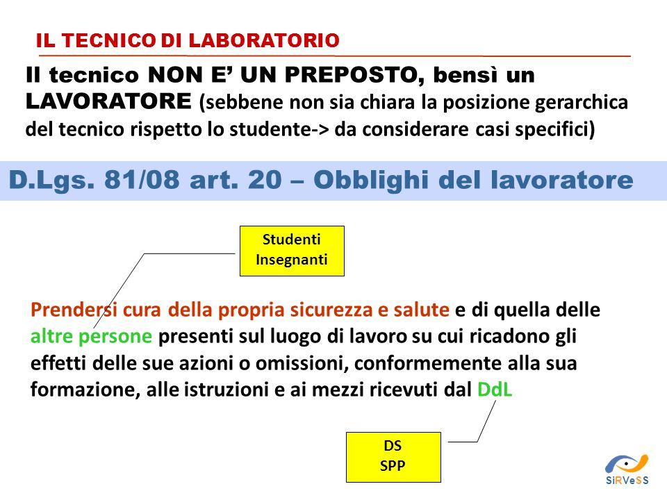 D.Lgs. 81/08 art. 20 – Obblighi del lavoratore