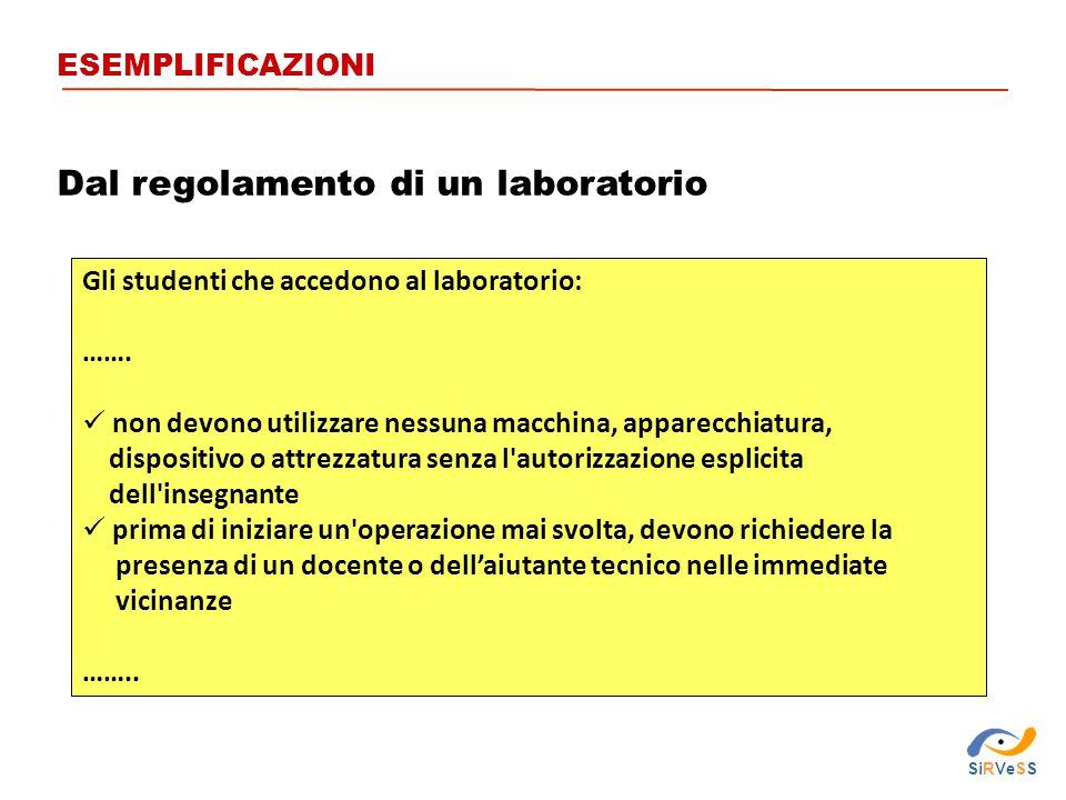 Dal regolamento di un laboratorio