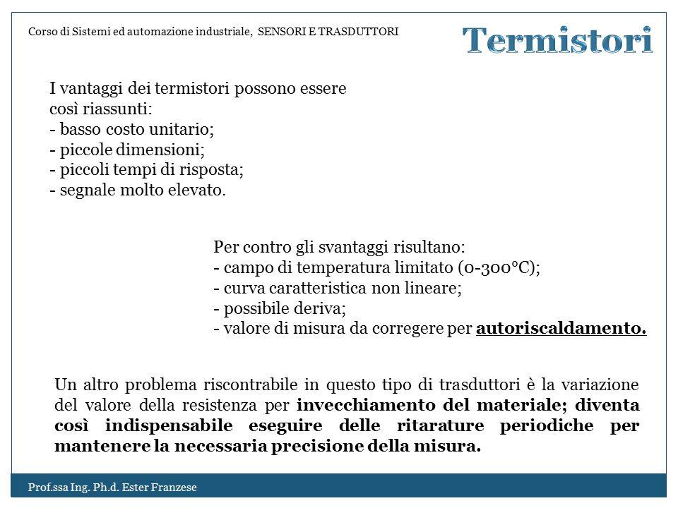 Termistori I vantaggi dei termistori possono essere così riassunti: