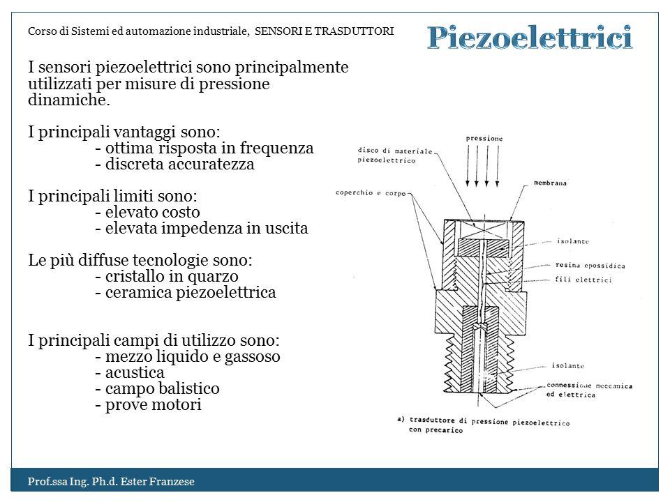 Piezoelettrici I sensori piezoelettrici sono principalmente utilizzati per misure di pressione dinamiche.